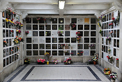 Inside Crematorium with plaques holding ashes. Pere Lachaise cemetery in Paris (III) - p1072m829318 by Neville Mountford-Hoare
