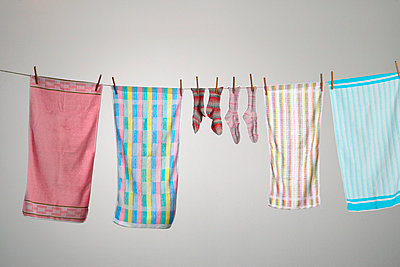 Clothesline with towels - p4030892 by Helge Sauber