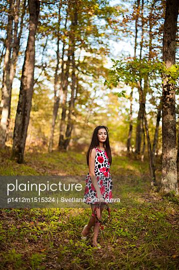 Girl in autumn forest - p1412m1515324 by Svetlana Shemeleva