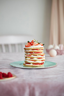 Strawberry pancake stack - p429m2091325 by Debby Lewis-Harrison