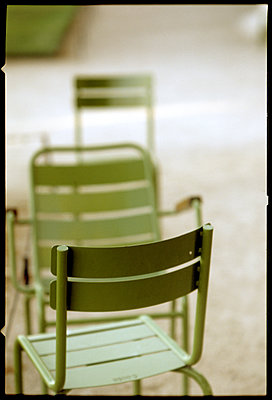 Green lawn chairs - p567m1095622 by Alexis Bastin