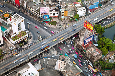 Elevated view over the busy road system in Bangkok, Thailand - p6511801 by Gavin Hellier
