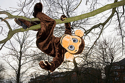 Person in monkey costume hanging from tree - p9247322f by Image Source