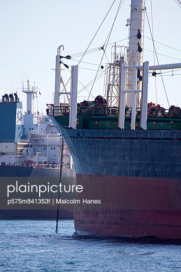 Ship moored in port - p575m841353f by Malcolm Hanes