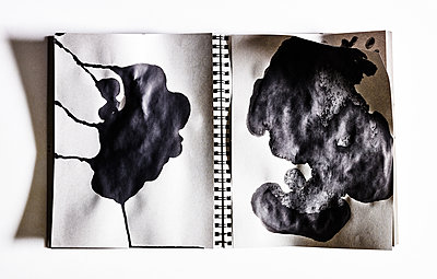 Notebook with spot of ink - p1397m2076486 by David Prince