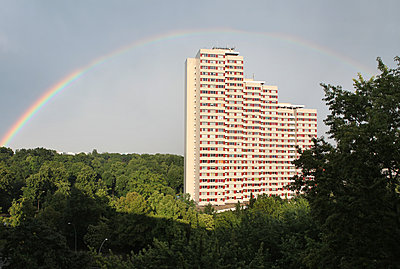 Germany, Berlin, Place at the United Nations, High rise building and rainbow  - p1519m2159002 by Soany Guigand