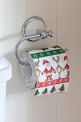 Novelty Christmas toilet paper in Sussex home  UK - p3493520 by Robert Sanderson