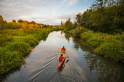 Canoeing in Still Creek, Burnaby,  British Columbia. - p1166m2202117 by Christopher Kimmel / Alpine Edge Photography