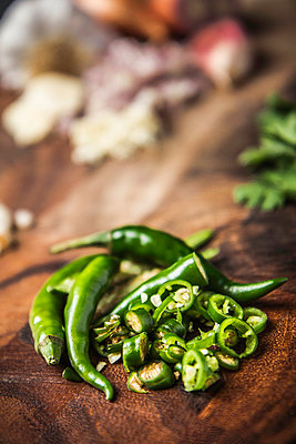 Ingredient for making green curry paste - chilli - p429m942709f by Manuel Sulzer