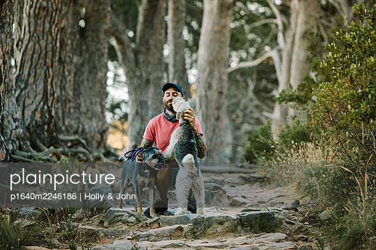 Man with two dogs - p1640m2246186 by Holly & John