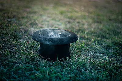 Magic hat and smoke in the grass - p1007m1006957 by Tilby Vattard