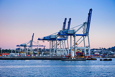 Wharf in the harbour of Auckland, North Island, New Zealand, Pacific - p871m929685f by Michael Runkel