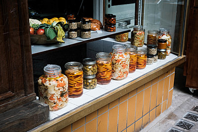 Display window with pickled foods - p1229m2182571 by noa-mar