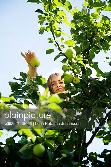 Teenage girl (16-17) holding apple - p352m2119665 by Lena Katarina Johansson