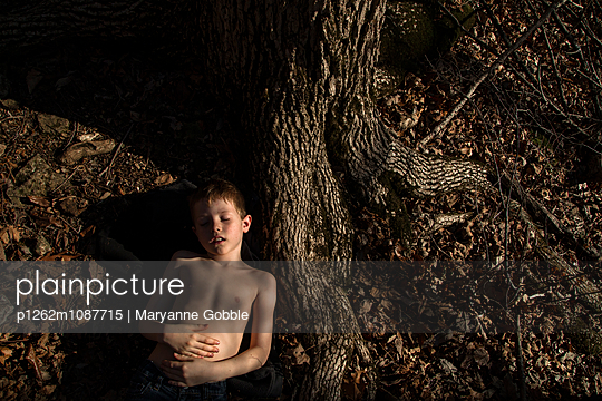 Child Asleep by Tree - p1262m1087715 by Maryanne Gobble