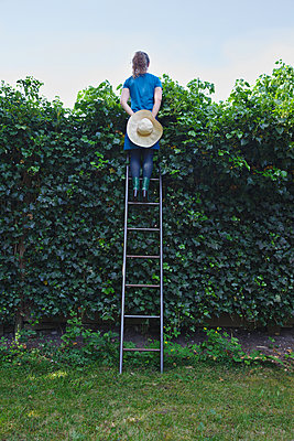 Woman on top of a ladder looking over a hedge - p1231m2191446 by Iris Loonen