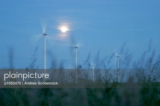Windräder im Mondschein - p1650470 von Andrea Schoenrock