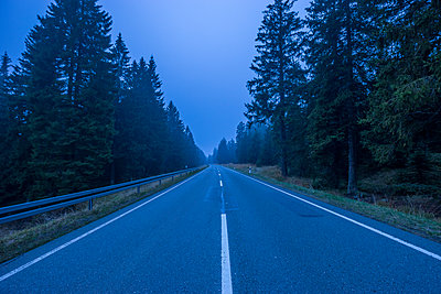 Germany, Lower Saxony, misty road through Harz National Park at evening twilight - p300m1449374 by Patrice von Collani