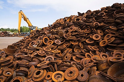 Rusted Metal Discs and Drum Brakes at Scrap Metal Recycling Junkyard, Quebec - p6070738 by Perry Mastrovito
