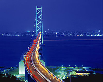 Illuminated view of the Akashi-Kaikyo Bridge - p5143064f by GYRO PHOTOGRAPHY