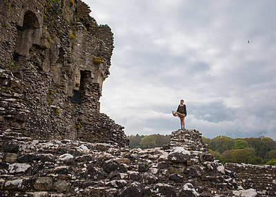 Girl Standing on Castle - p1503m2015949 by Deb Schwedhelm