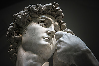 Head of statue of David by Michelangelo, Accademia Gallery, Florence, Tuscany, Italy - p343m2010592 by Ron Koeberer