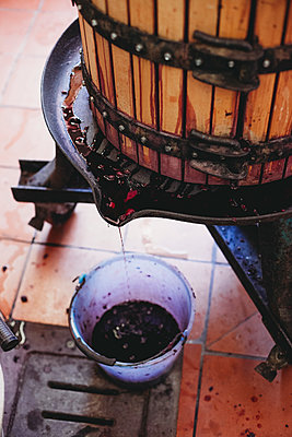 High angle view of wine filling in bucket from cask at factory - p1166m2024790 by Cavan Images