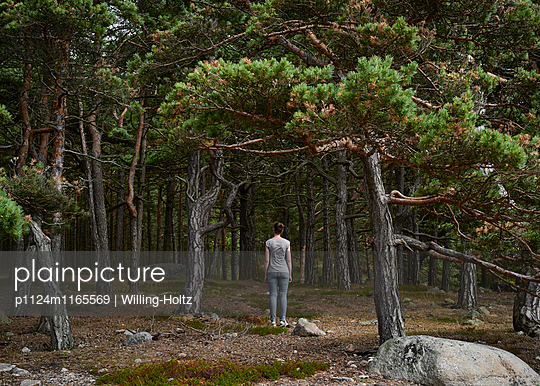 Frau steht im Wald - p1124m1165569 von Willing-Holtz