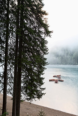 Boats on Lake Braies - p1383m1496367 by Wolfgang Steiner