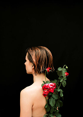 Naked woman with red roses on her back against black background - p1166m2112010 by Cavan Images