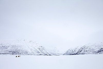 Ice fishing on frozen lake in the arctic alps in the Arctic Circle on Ringvassoya Island in the region of Tromso, Northern Norway - p871m895841 by Tim Graham