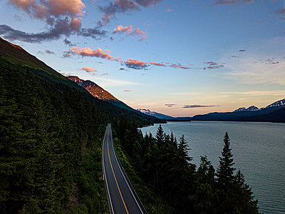 Alaska, Rural road beside a Fjord - p1455m2204513 by Ingmar Wein