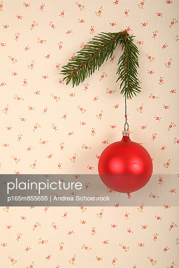 Red christmas bauble - p165m855655 by Andrea Schoenrock
