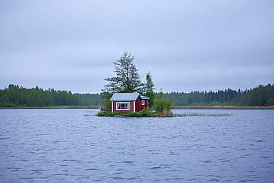 Wooden house on little island - p312m2118959 by Johner