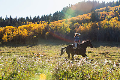 Woman horseback riding in sunny autumnal field - p1192m1129757f by Hero Images