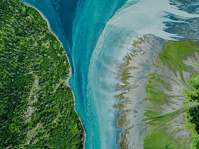 Alaska, Area of a glacial river - p1455m2204765 by Ingmar Wein