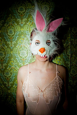 Woman wearing bunny mask - p4130552 by Tuomas Marttila