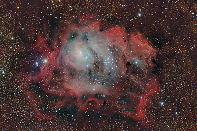 Namibia, Region Khomas, near Uhlenhorst, Astrophoto of emission nebula and star forming region Messier 8 or Lagoon Nebula with a telescope - p300m1505920 by Thomas Grohmann
