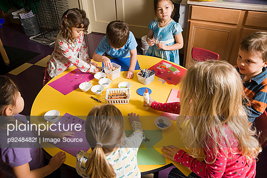 Children in a craft lesson - p9248482f by Image Source