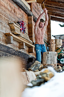 Chopping wood - p787m1071425 by Forster-Martin