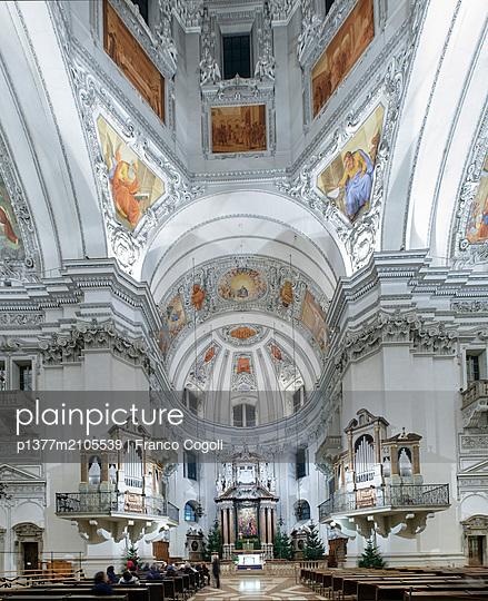 Austria, Österreich, Salzburg, Salzburg, Alps, Interior of the Cathedral - p1377m2105539 by Franco Cogoli