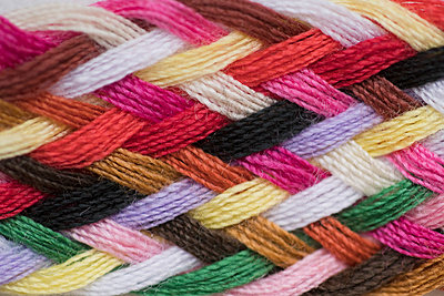 Full frame shot of colorful knitted wool - p301m1482432 by Halfdark