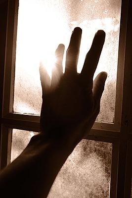 Woman's hand on windowpane - p945m2182292 by aurelia frey
