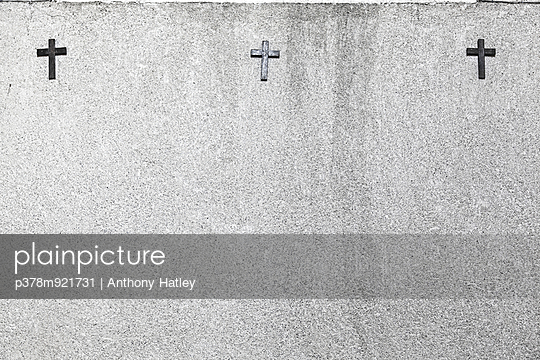 Three crosses on wall - p378m921731 by Anthony Hatley