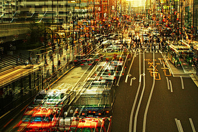 City traffic in a large town, multiple exposure - p1640m2245924 by Holly & John