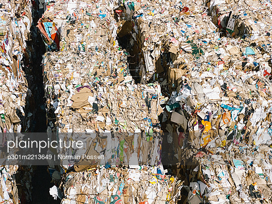 Recycled paper bundles at sunny recycling center - p301m2213649 by Norman Posselt
