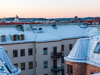 Block of flats, high angle view - p312m1211059 by Stefan Isaksson
