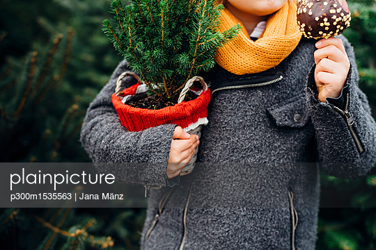 Happy boy preparing for Christmas , holding potted tree, eating chocolate dipped apple - p300m1535563 by Jana Mänz