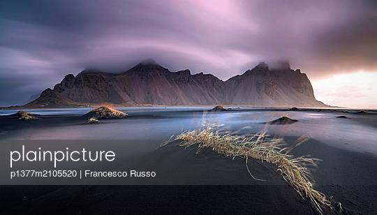 Iceland, East Iceland, Austurland, Höfn, Atlantic ocean, Vestahorns mountain at sunrise, Stokksnes - p1377m2105520 by Francesco Russo