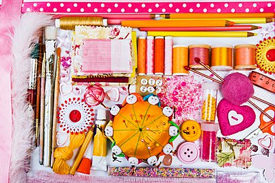 Assorted sewing and craft supplies - p1183m997133 by Burgess, Linda